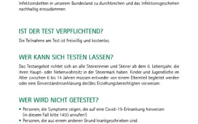 Informationen zu den Corona Massentests